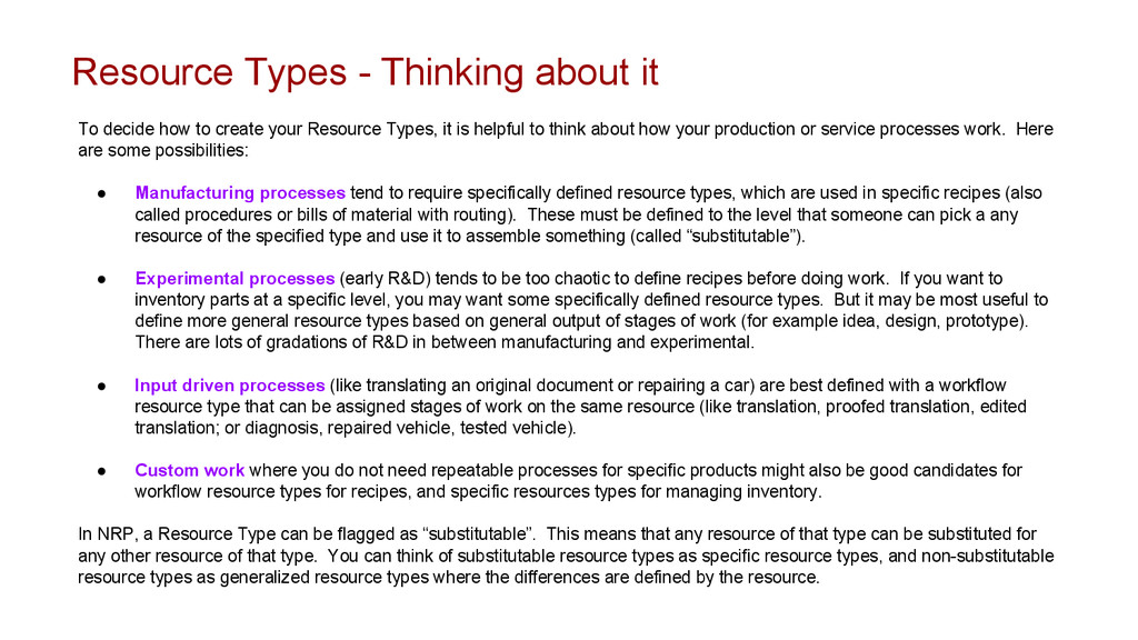 Resource Types - Thinking about it To decide ho...