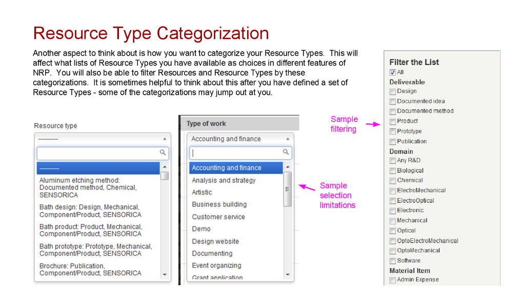 Resource Type Categorization Another aspect to ...
