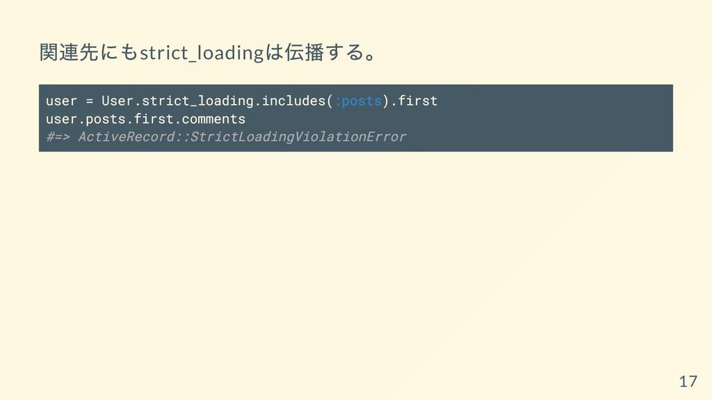 関連先にもstrict_loading は伝播する。 user = User.strict_l...