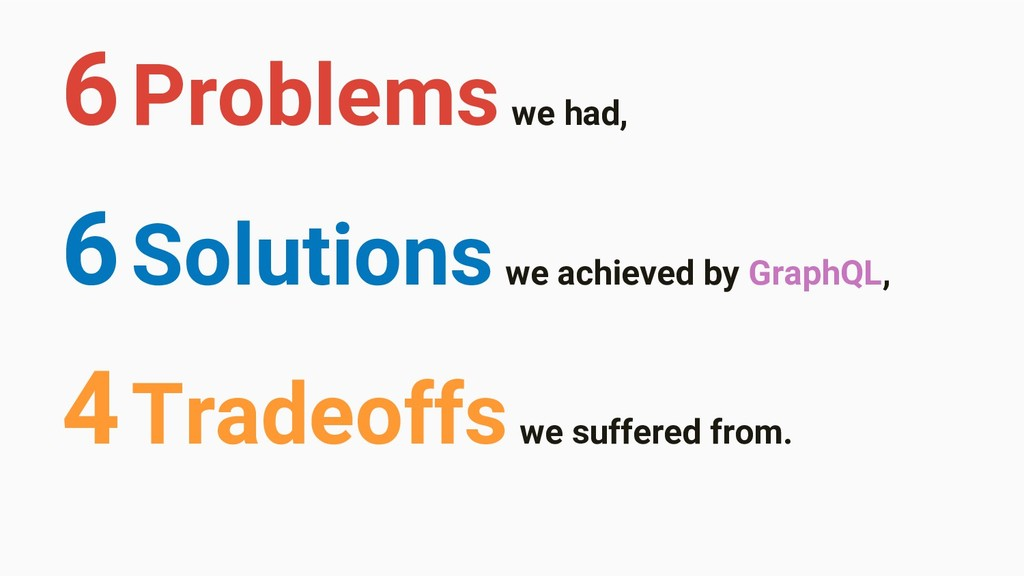 6 Solutions we achieved by GraphQL, 6 Problems ...