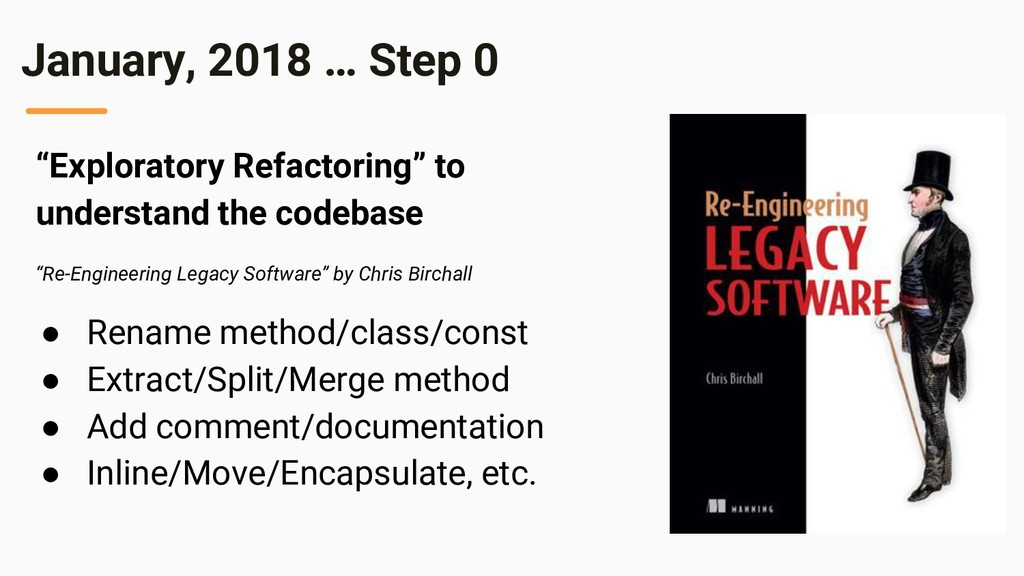 "January, 2018 … Step 0 ""Exploratory Refactoring..."