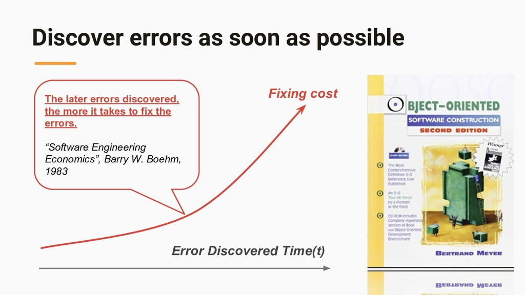 Discover errors as soon as possible The later e...