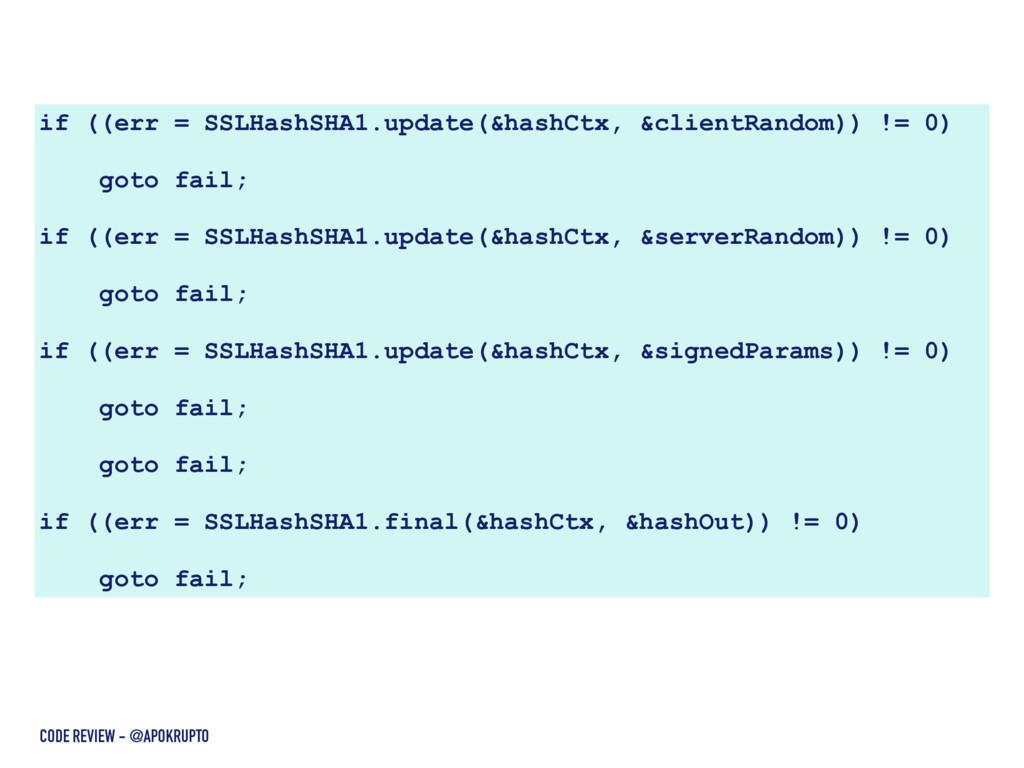 if ((err = SSLHashSHA1.update(&hashCtx, &client...