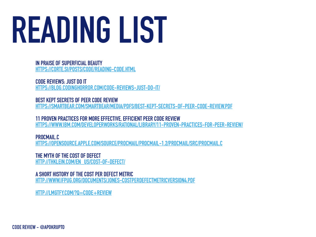READING LIST CODE REVIEW - @APOKRUPTO IN PRAISE...