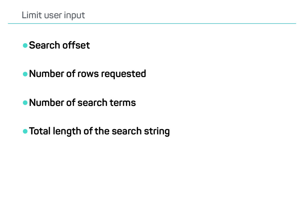 •Search offset •Number of rows requested •Numbe...