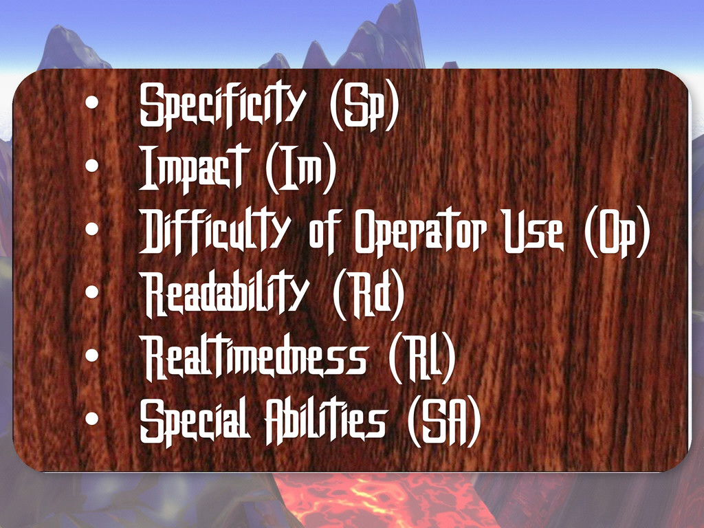 • Specificity (Sp) • Impact (Im) • Difficulty o...