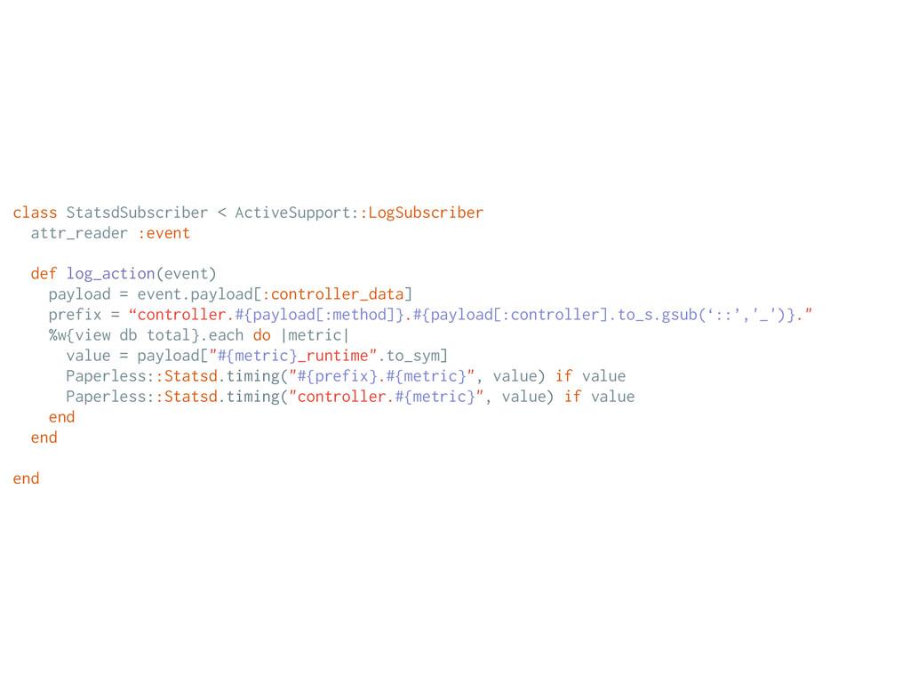 class StatsdSubscriber < ActiveSupport::LogSubs...
