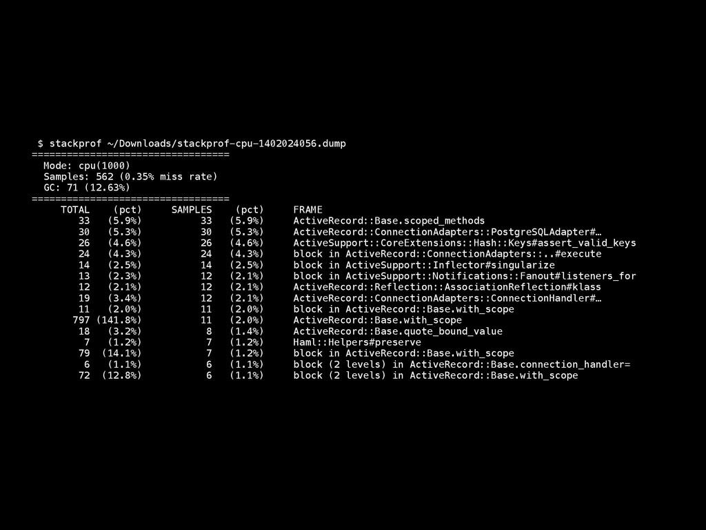 $ stackprof ~/Downloads/stackprof-cpu-140202405...