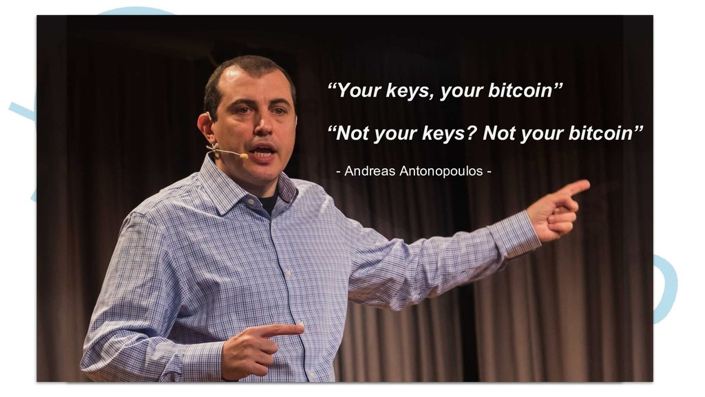 """Your keys, your bitcoin"" ""Not your keys? Not y..."