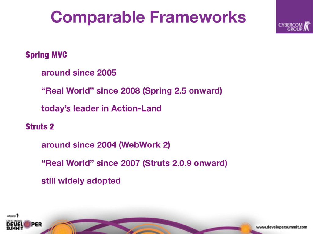 Comparable Frameworks Spring MVC around since 2...
