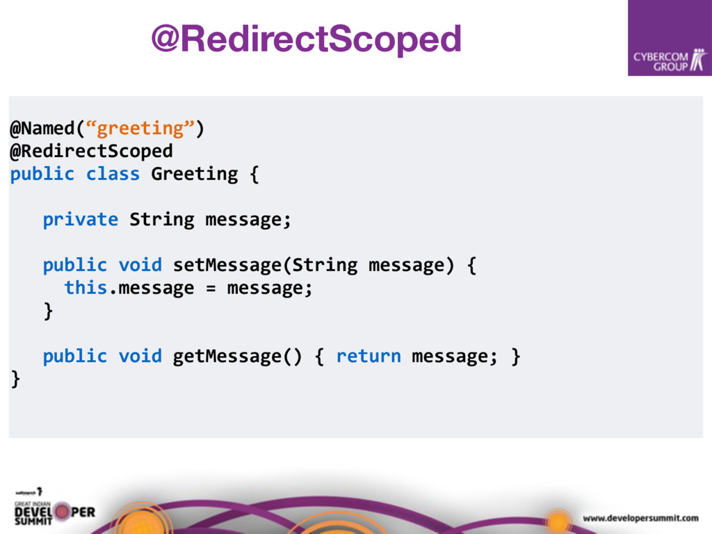 """@Named(""""greeting"""") @RedirectScoped public class..."""