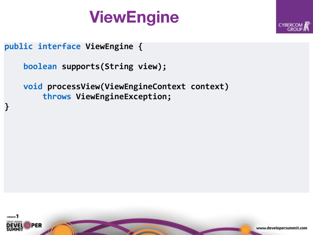 public interface ViewEngine { boolean supports(...