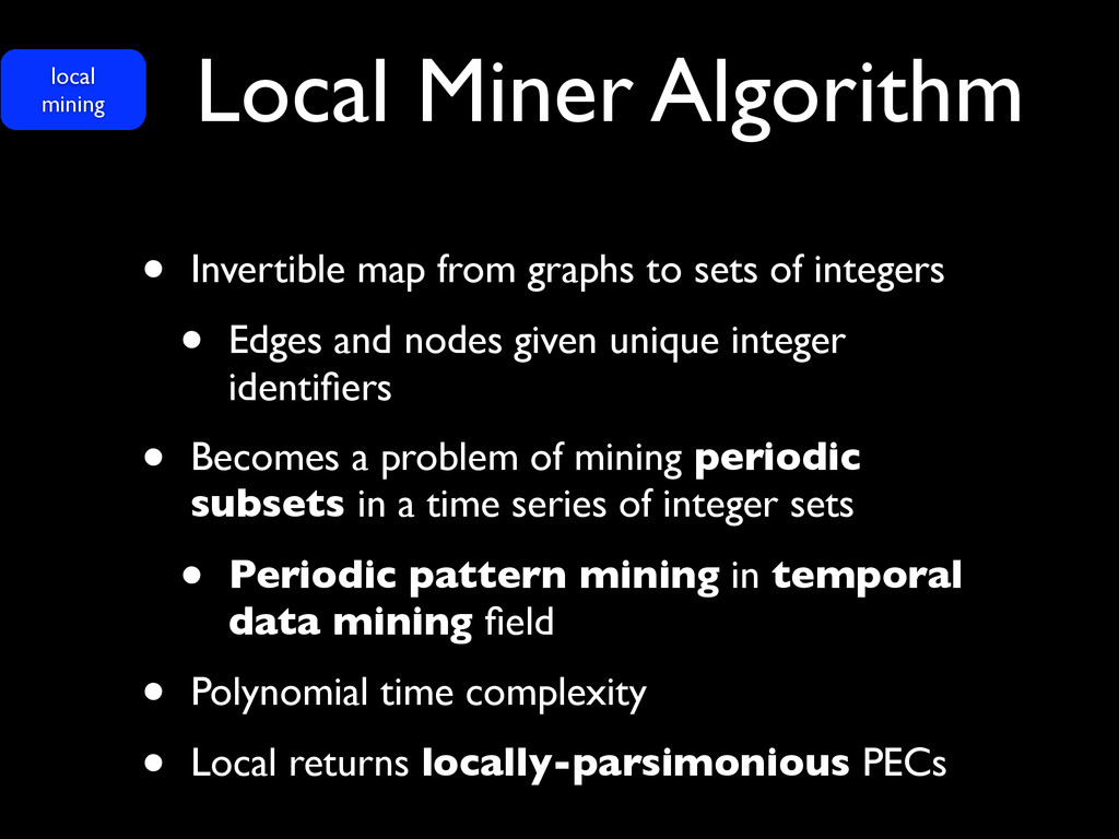 Local Miner Algorithm • Invertible map from gra...