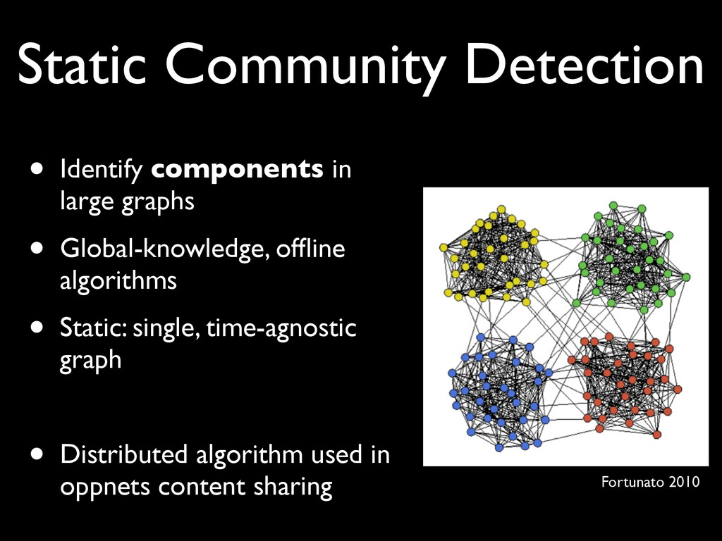 Static Community Detection • Identify component...