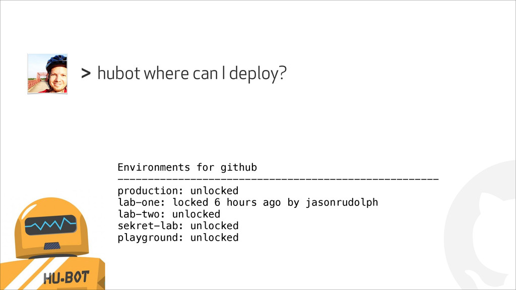 ! hubot where can I deploy? > Environments for ...