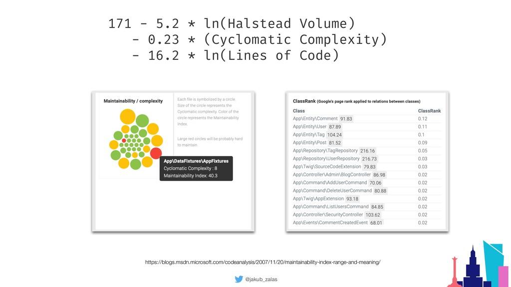 @jakub_zalas 171 - 5.2 * ln(Halstead Volume) - ...
