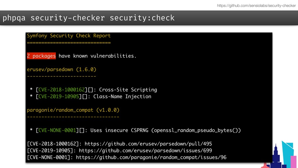 phpqa security-checker security:check https://g...