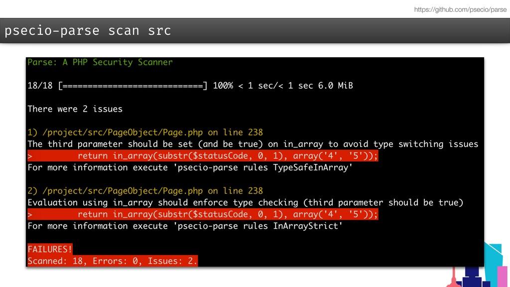 psecio-parse scan src https://github.com/psecio...