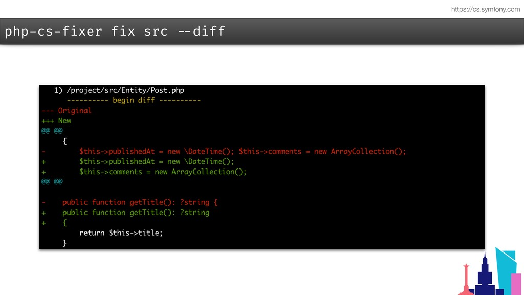 php-cs-fixer fix src --diff https://cs.symfony....