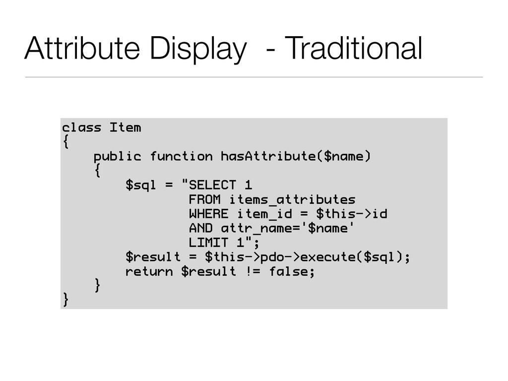 Attribute Display - Traditional class Item { pu...