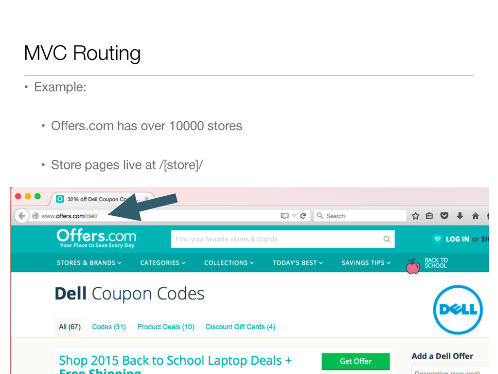 MVC Routing • Example:  • Offers.com has over 10...