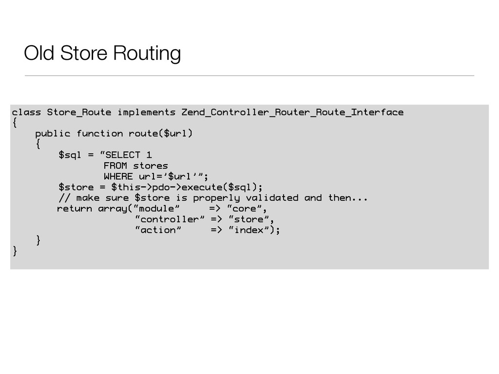 Old Store Routing class Store_Route implements ...
