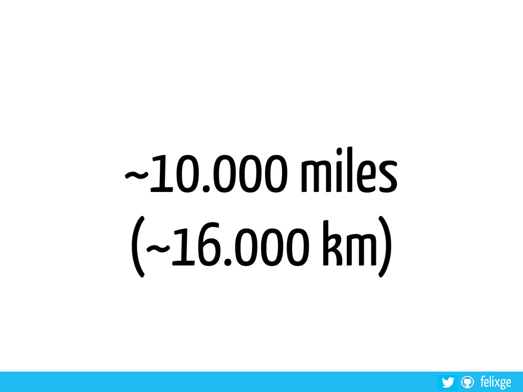 felixge ~10.000 miles (~16.000 km)