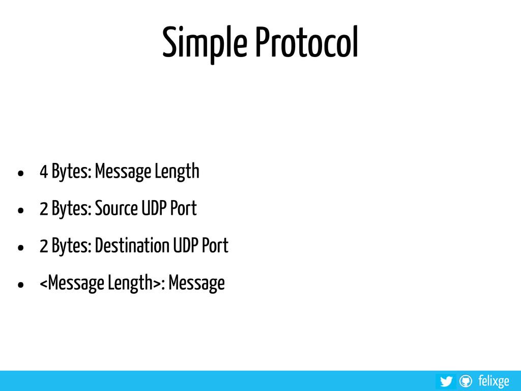 @felixge felixge Simple Protocol • 4 Bytes: Mes...
