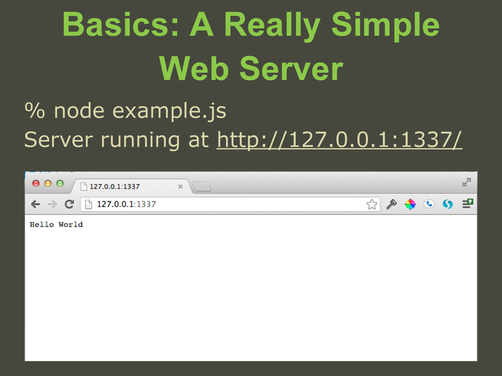 Basics: A Really Simple Web Server % node examp...