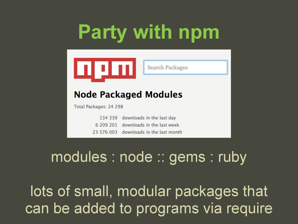 Party with npm modules : node :: gems : ruby lo...