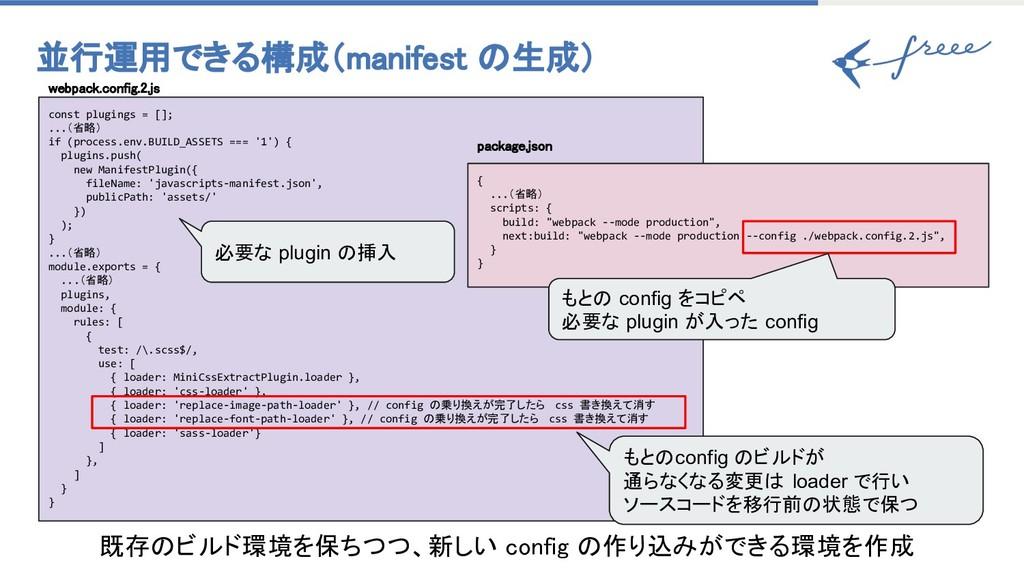 並行運用できる構成(manifest 生成) const plugings = []; .....