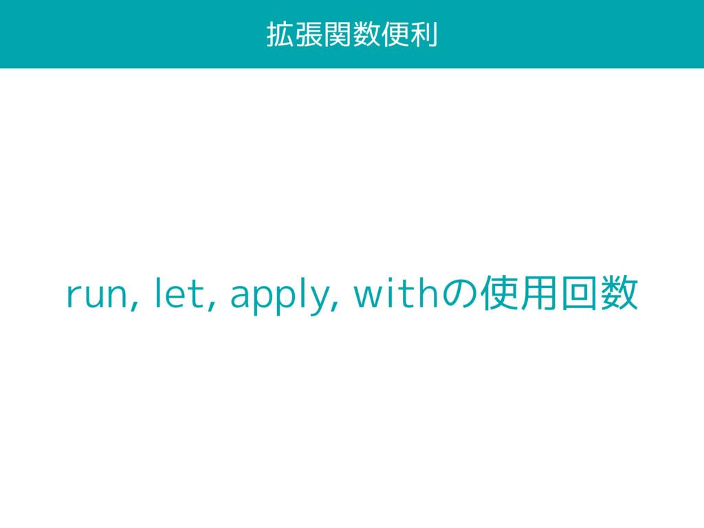 拡張関数便利 run, let, apply, withの使用回数