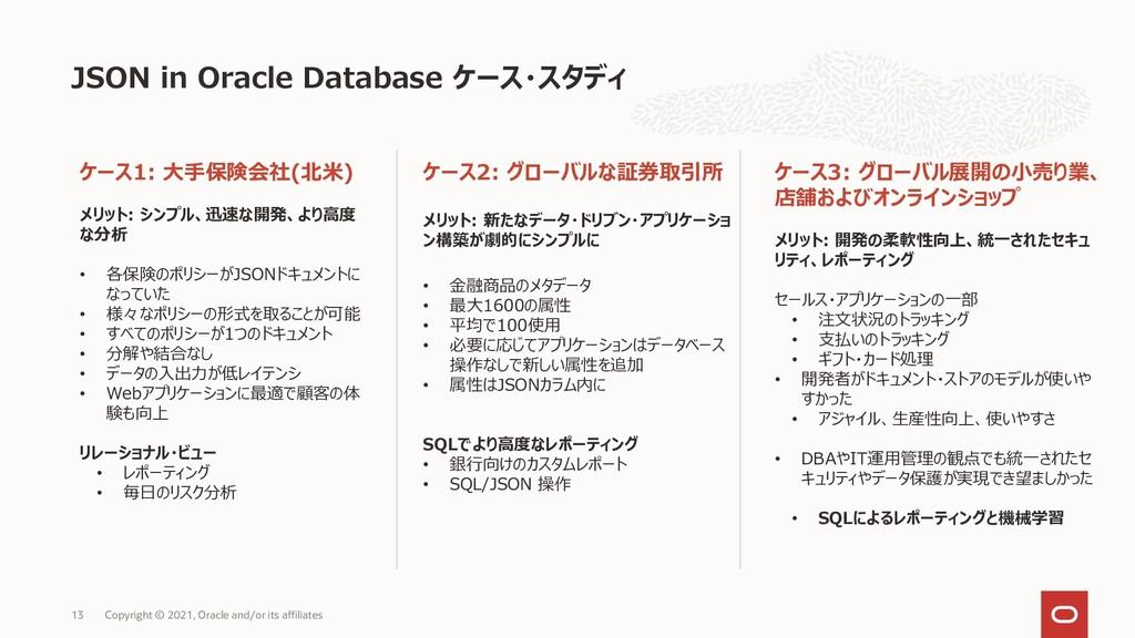 JSON in Oracle Database ケース・スタディ ケース1: 大手保険会社(北...