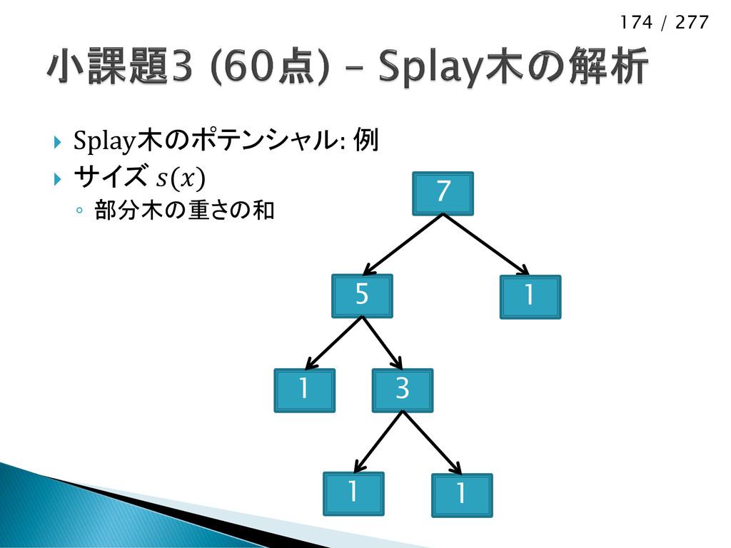 174 / 277  Splay木のポテンシャル: 例  サイズ () ◦ 部分木の重さの...