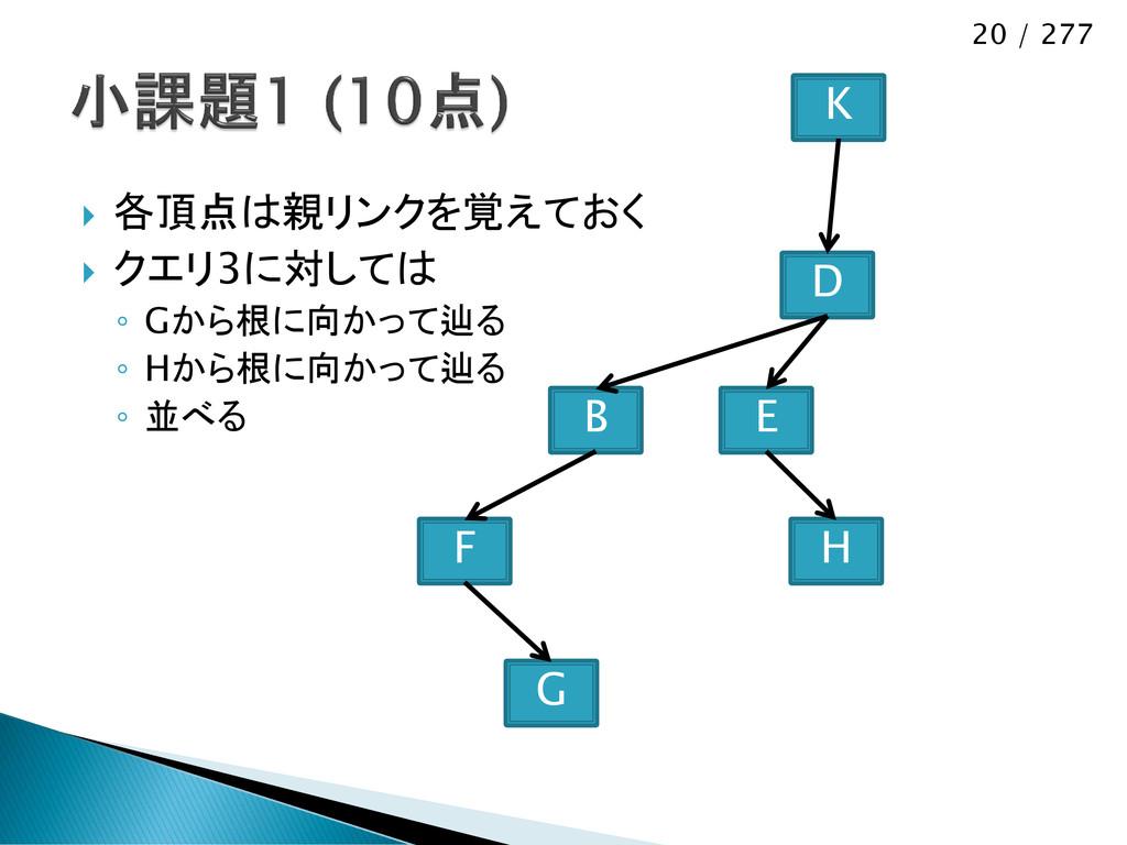 20 / 277  各頂点は親リンクを覚えておく  クエリ3に対しては ◦ Gから根に向か...