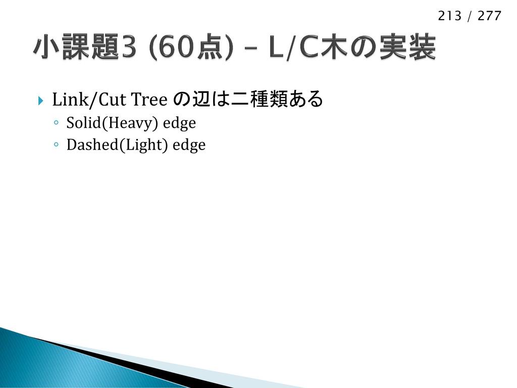 213 / 277  Link/Cut Tree の辺は二種類ある ◦ Solid(Heav...