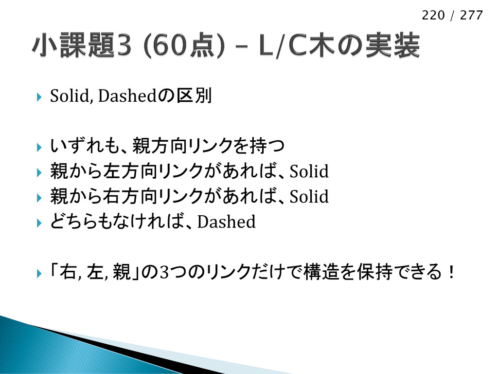 220 / 277  Solid, Dashedの区別  いずれも、親方向リンクを持つ ...
