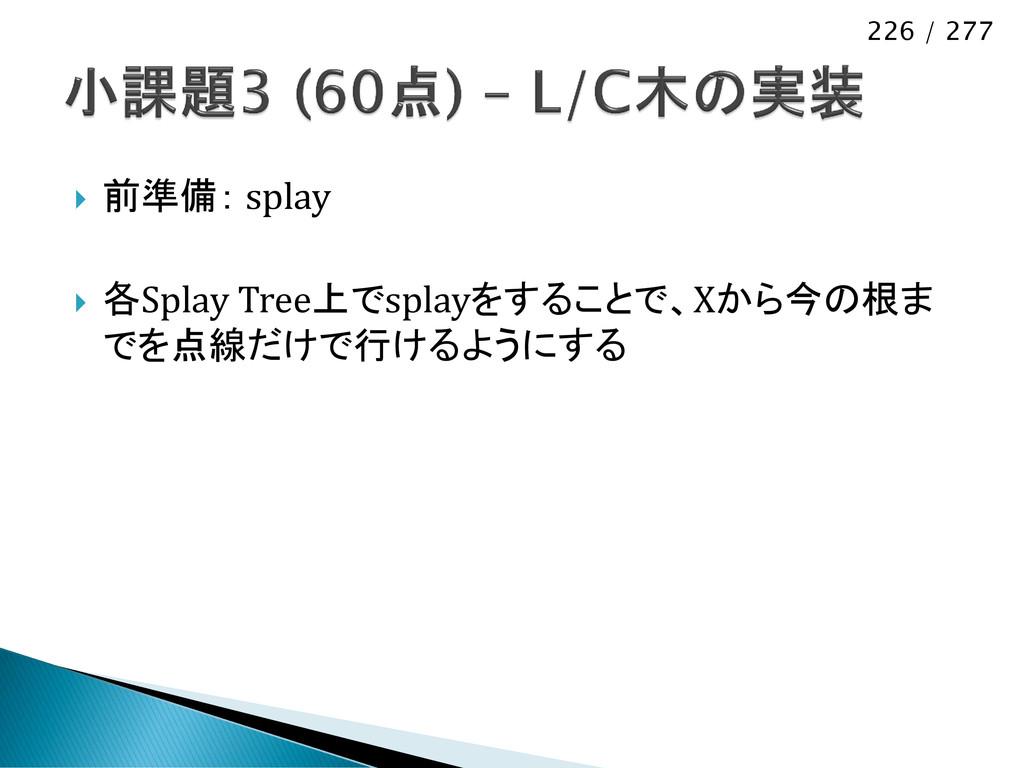 226 / 277  前準備: splay  各Splay Tree上でsplayをするこ...