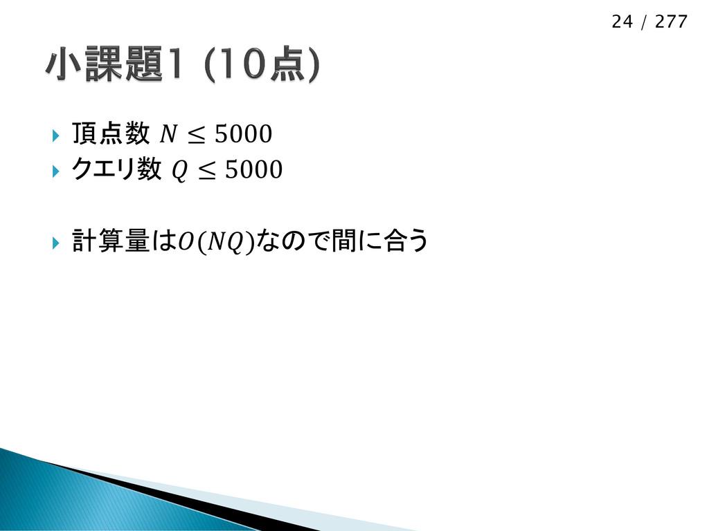 24 / 277  頂点数  ≤ 5000  クエリ数  ≤ 5000  計算量は()な...