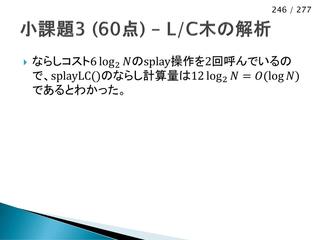 246 / 277  ならしコスト6 log2 のsplay操作を2回呼んでいるの で、sp...
