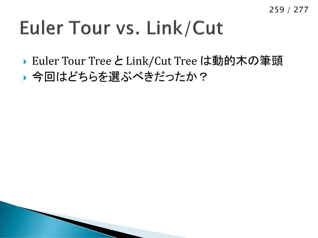 259 / 277  Euler Tour Tree と Link/Cut Tree は動的...