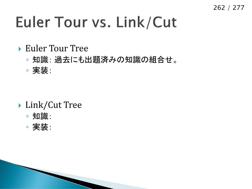 262 / 277  Euler Tour Tree ◦ 知識: 過去にも出題済みの知識の組...