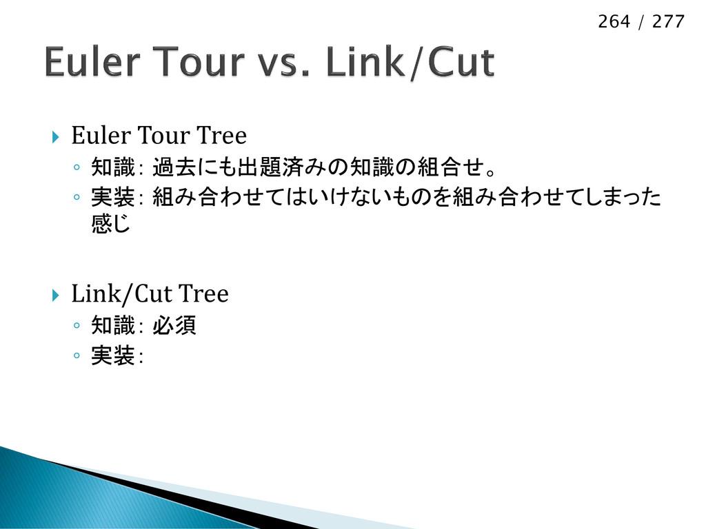264 / 277  Euler Tour Tree ◦ 知識: 過去にも出題済みの知識の組...