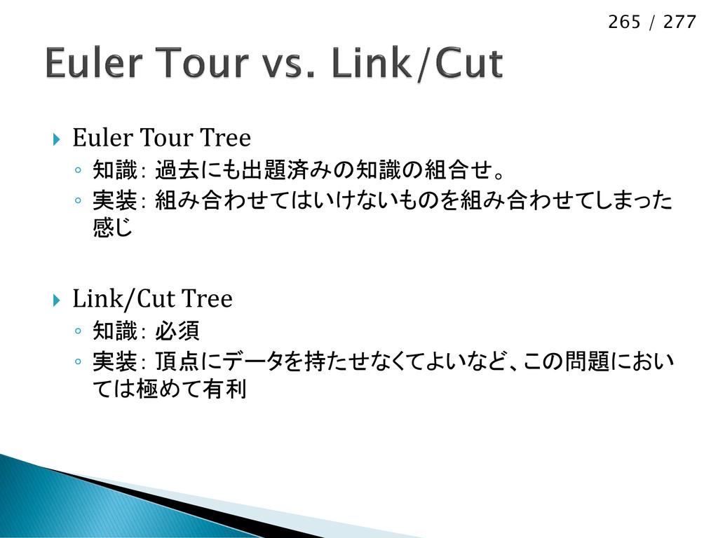 265 / 277  Euler Tour Tree ◦ 知識: 過去にも出題済みの知識の組...