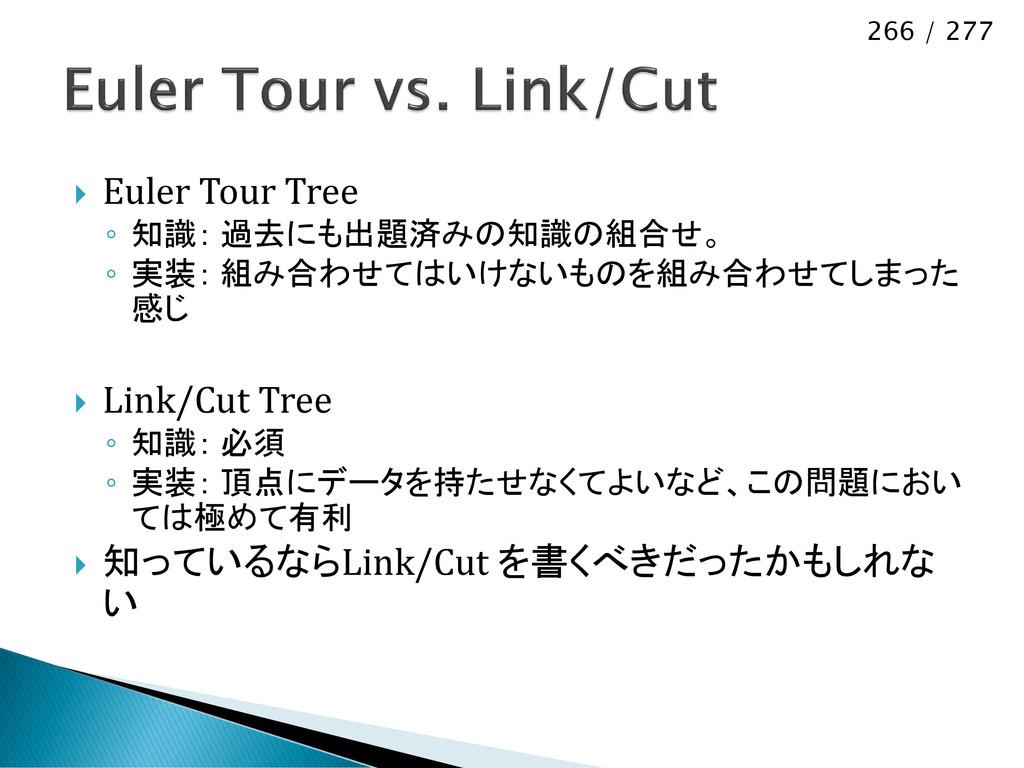 266 / 277  Euler Tour Tree ◦ 知識: 過去にも出題済みの知識の組...
