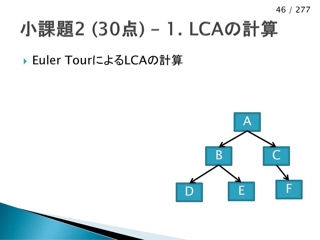 46 / 277  Euler TourによるLCAの計算 D B A E C F