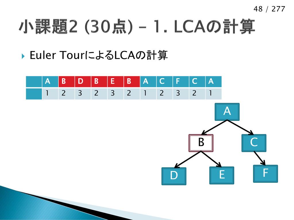 48 / 277  Euler TourによるLCAの計算 D B A E C F A B ...
