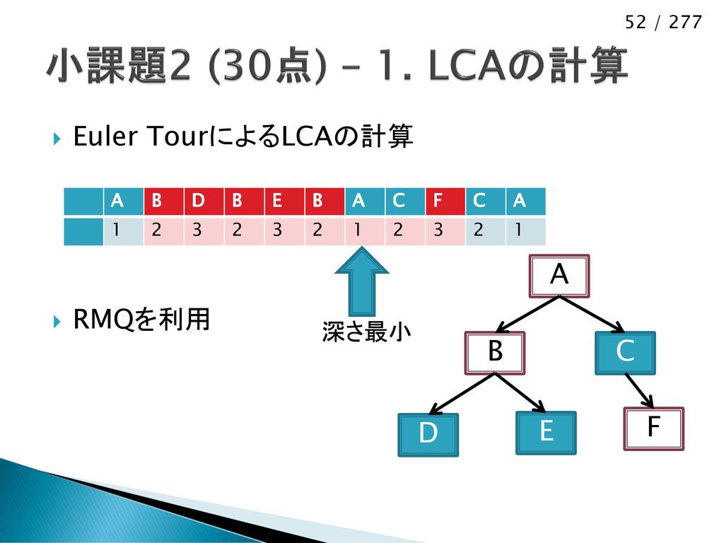 52 / 277  Euler TourによるLCAの計算  RMQを利用 D B A E...