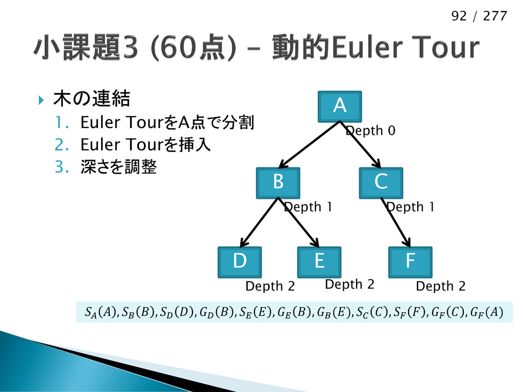 92 / 277  木の連結 1. Euler TourをA点で分割 2. Euler To...