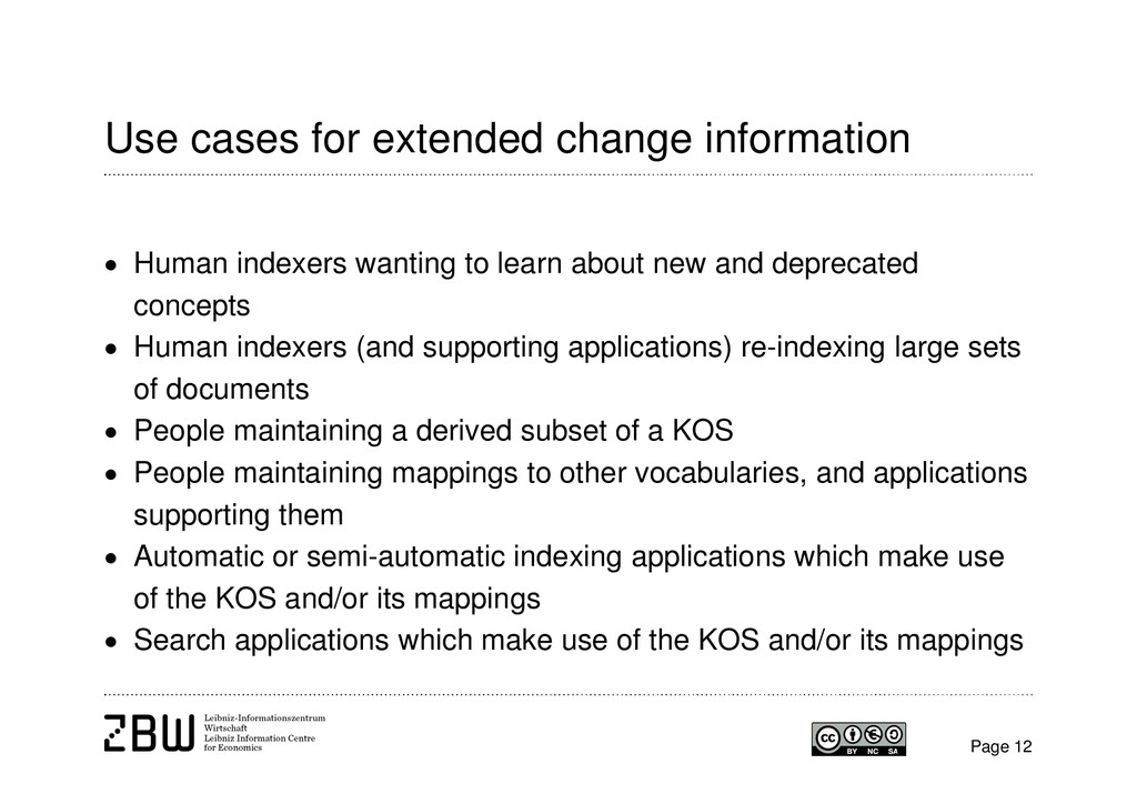 Use cases for extended change information Page ...